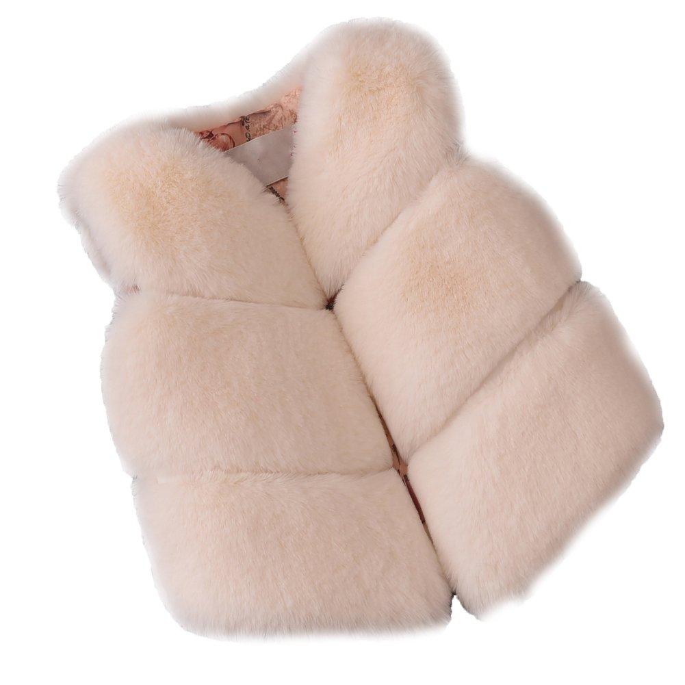 FOLOBE Bambini Autunno e Inverno Faux Pelliccia Spille Bambini nuovi cappotti di volpe imitazione di pelliccia Gilets cappotti per ragazze e ragazzi