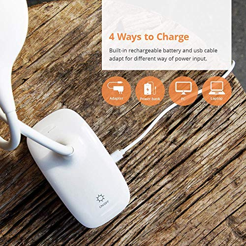 Rechargeable Clip On Reading Light, Wellnest Cordless Portable Clip On Lights, Day Light Reading with Adjustable Lightness, Flexible 360° USB Lamp for Home Book Bed and Computer