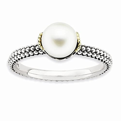 Sterling Silver 14k Stack Exp. 7.0-7.5mm White FW Cultured Pearl Ring