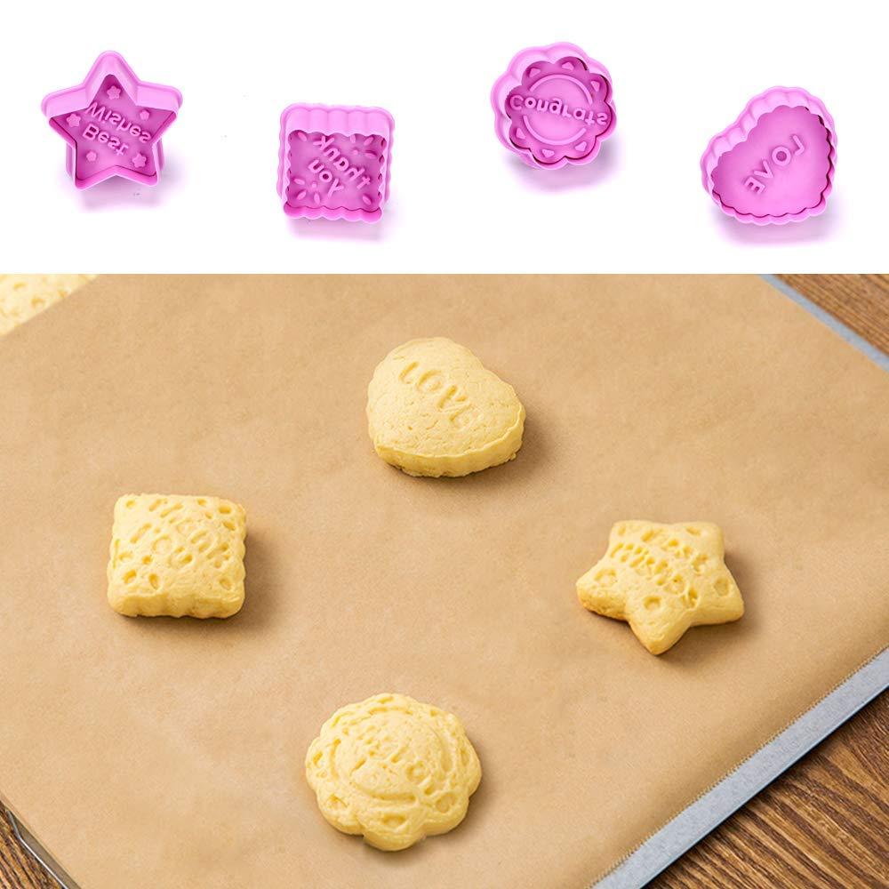 ASANMU Tagliabiscotti Natale 8 pezzi Biscotti Formina Biscotti Bakeware Fondente Biscotti Tagliapasta Set con Push Formato Biscotti Tagliatori Stampi Bambini DIY Decorazioni Accessori da Cucina