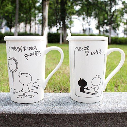 Creative Tuzki Ceramic Cup Mug Mashup Rabbit Couple Cups Milk Cup Coffee Cup Tea Cup With Lid Spoon Tuzki ceramic cup 301-400ml