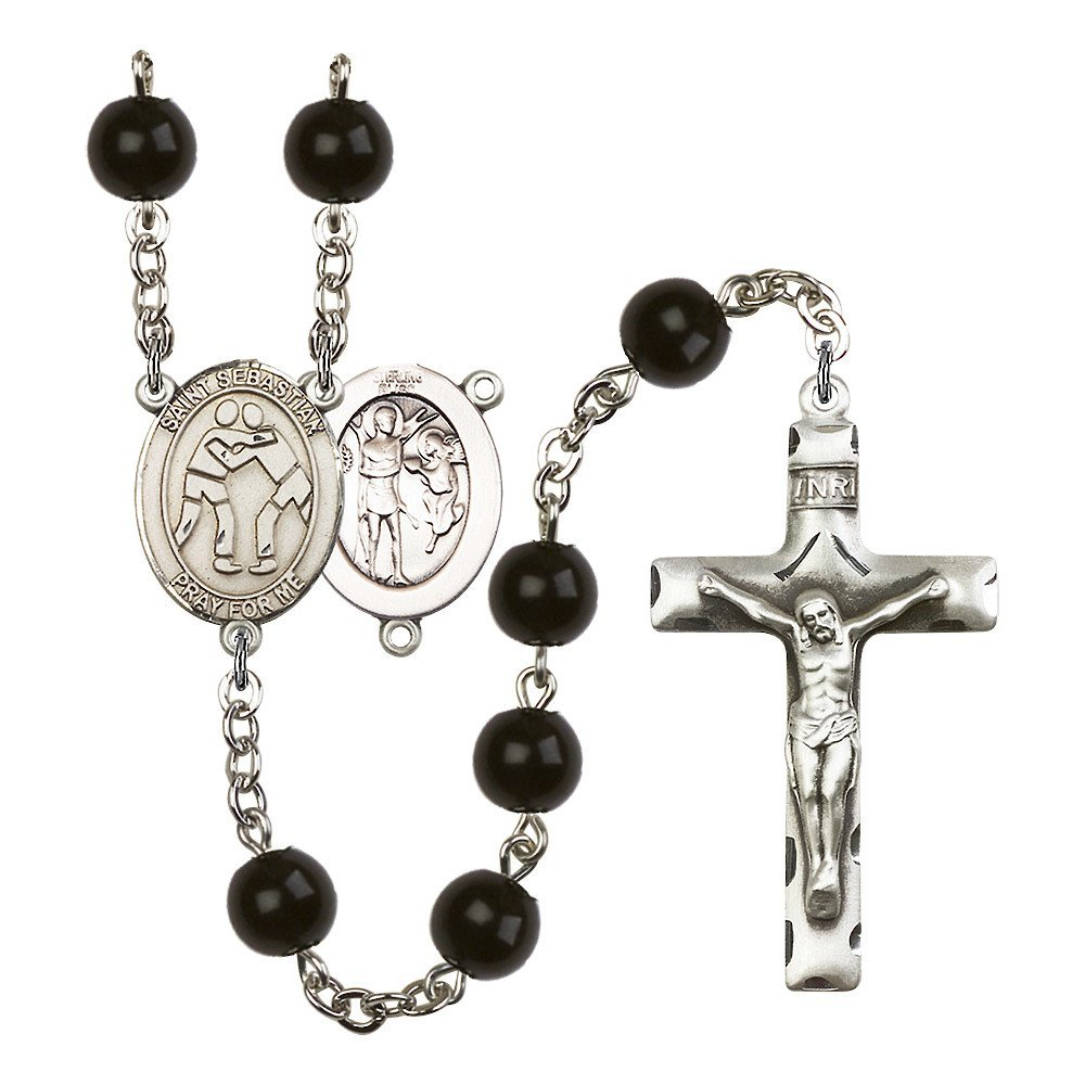 St. Sebastian/Wrestling Silver-Plated Rosary 7mm Black Onyx Beads Crucifix Size 1 3/4 x 1 medal charm