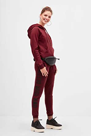 Blue age Slim Fit Trousers for Women M - Burgundy