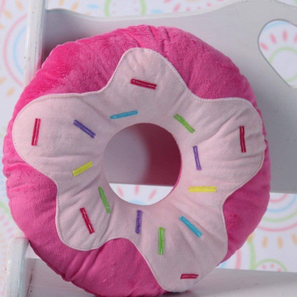 Snuggle Stuffs Chocolate /& Pink Sprinkles Donut Plush 14 Throw Pillow Set