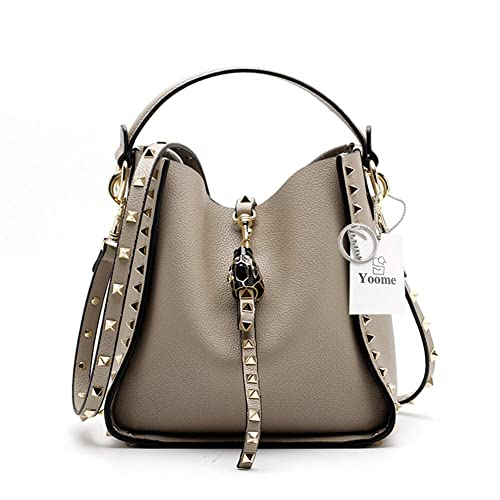 cddcda0c0f34 Yoome Women Cowhide Leather Bucket Bag Punk Purse Crossbody Rivets Clutch  Shoulder Handbags