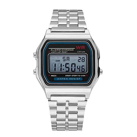 LED Reloj Digital, Reloj de Pulsera LED de Reloj de Pulsera de Acero Inoxidable Reloj de Pulsera de Acero Inoxidable Reloj de Pulsera de Negocios para ...