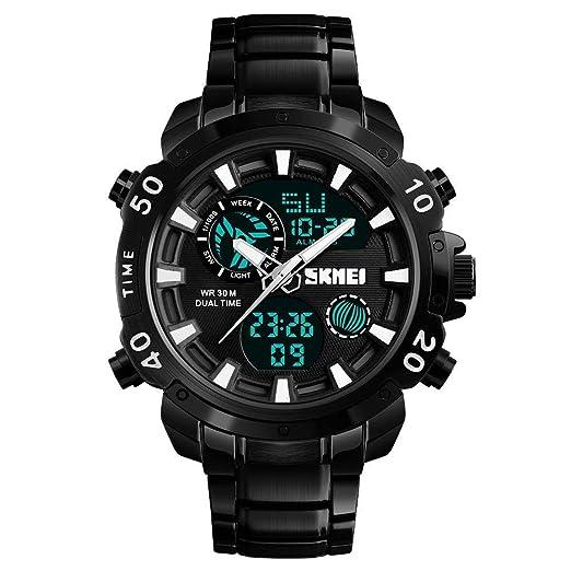 Reloj Digital para Hombre, Cronómetro Impermeable Cronómetro Militar Relojes de Pulsera EL Light para Hombres Niños: Amazon.es: Relojes
