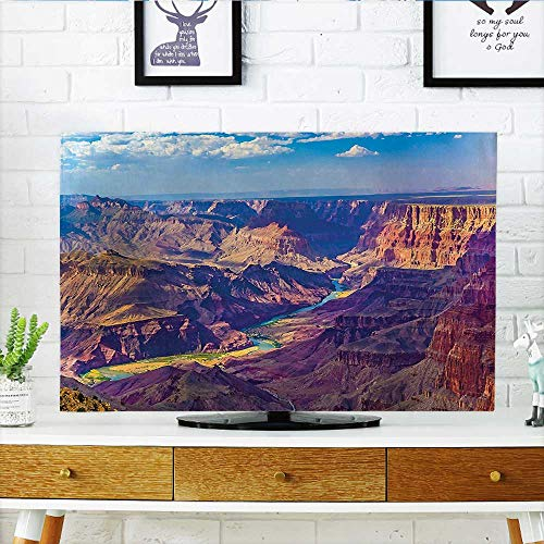 (Cover for Wall Mount tv Aerial View of Epic Grand Canyon Activity of River Stream Over Rock Plateau Cover Mount tv W30 x H50 INCH/TV 52