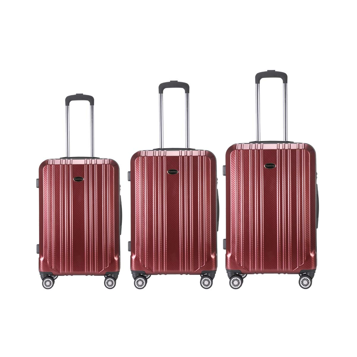 Lightweight Suitcases, Expandable Luggage Set, Double Wheels Spinner Luggage, 3 pcs set(20''24''28'') (Burgundy) by TECOEASE