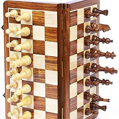 """10"""" x 10? Collectible Magnetic Wooden Folding Chess Game Board Set with Wooden Magnetic Crafted Pieces"""