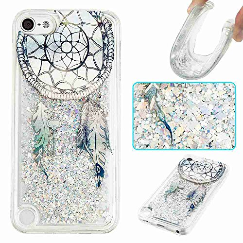 iPod Touch 6 Case, STENES 3D Creative Luxury Series Bling Glitter Sparkle Liquid Case Infused with Glitter and Stars Moving Quicksand Soft Case for iPod Touch 5/6 - Blue (Sparkle Series)