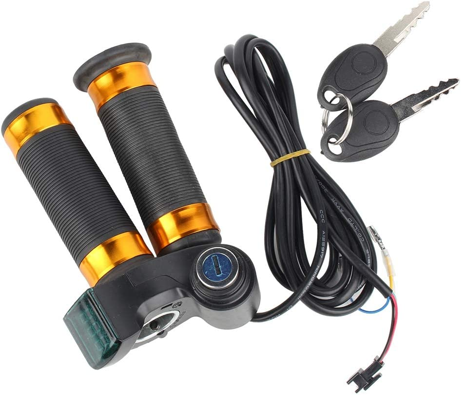 VGEBY1 Twist Throttle Grip Voltage Display Grip with Lock for Electric Bike Scooter Vehicle Cable Length: 2m// 6.56 Feet