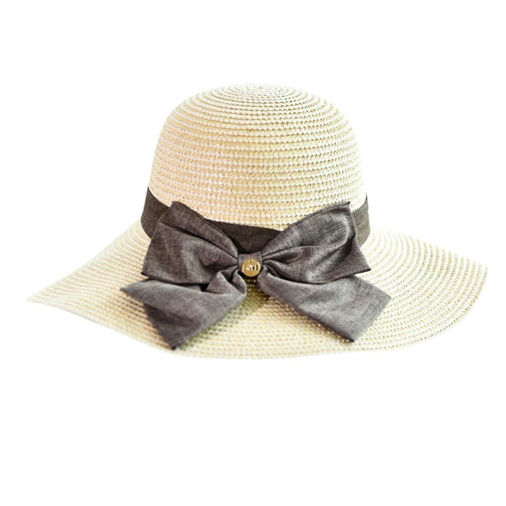 KERULA /ÉT/é Nouveau Chapeau De Paille Dames Occasionnel Pliable Chapeau Cool Arc Simple Respirant Plage Visi/èRe