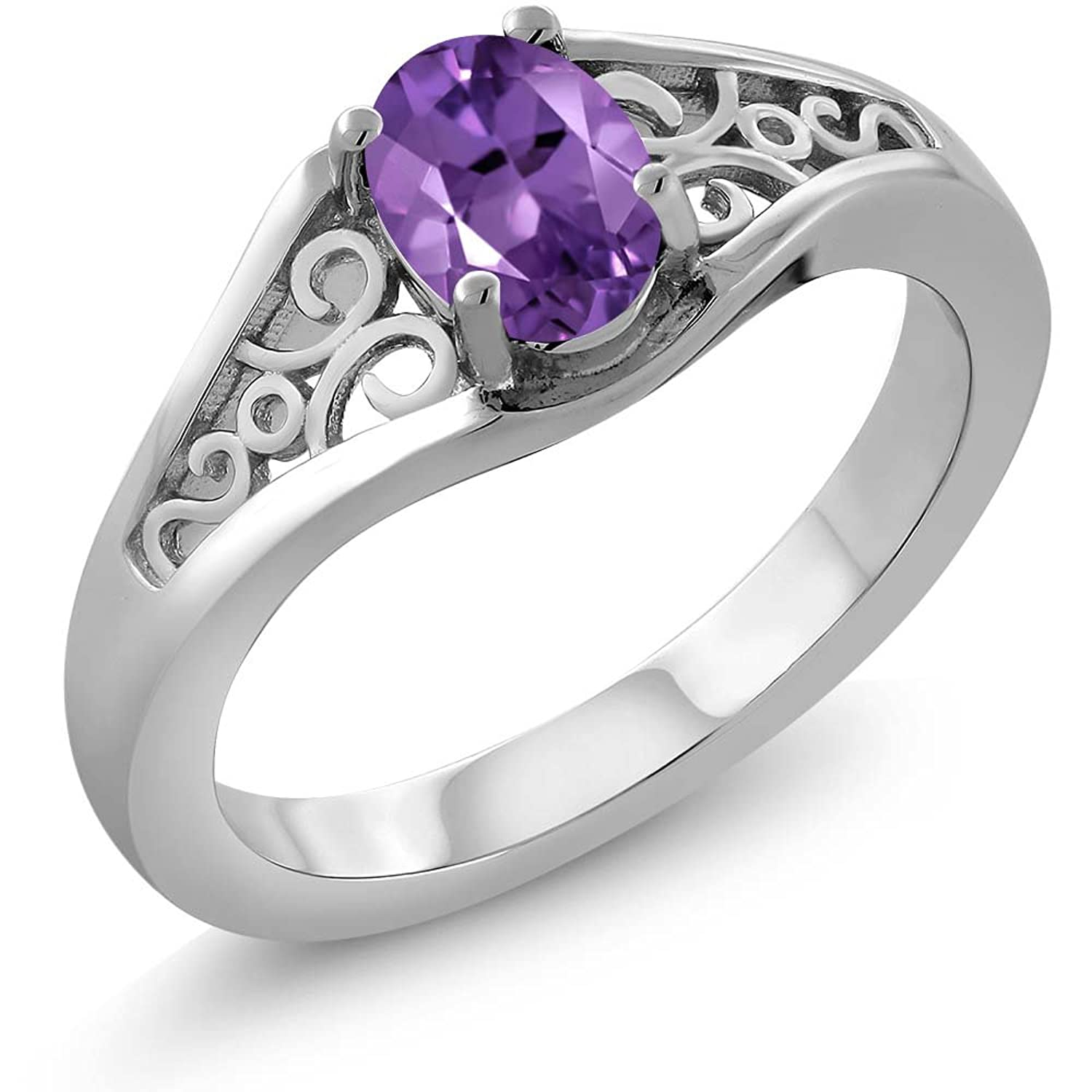 0.75 Ct Oval Purple Amethyst Gemstone Birthstone 925 Sterling Silver Jewelry Women's Ring (Available in size 5, 6, 7, 8, 9)
