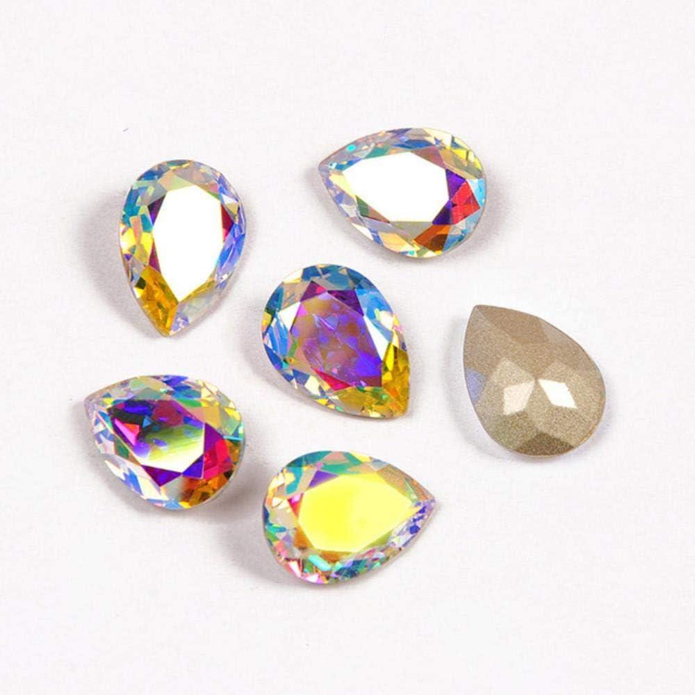 PENVEAT 4320 Drop Diamond Teardrop Glass Fancy Stones Coser en Cristales Costura al por Mayor con Garras Piedras Superiores para Vestido de Novia, AB, con Garra Plateada