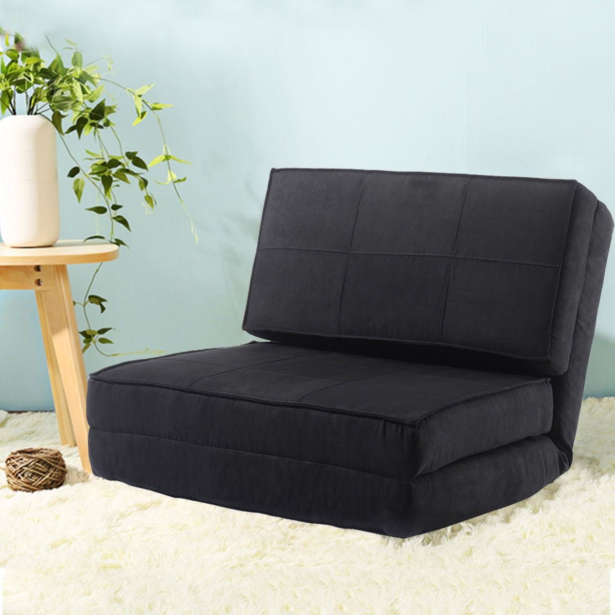 MasterPanel - Fold Down Chair Flip Out Lounger Convertible Sleeper Bed Couch Game Dorm Guest #TP3251
