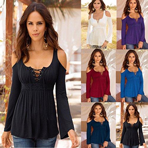 Primaverile Moda Colore V Onenight Solido Maglie Top Manica Blouse Nuda a Mini Sexy Lunga Camicie Bluse Spalla Shirt di Nero Collo Bandage Maglietta Donna dwfWqn56zf