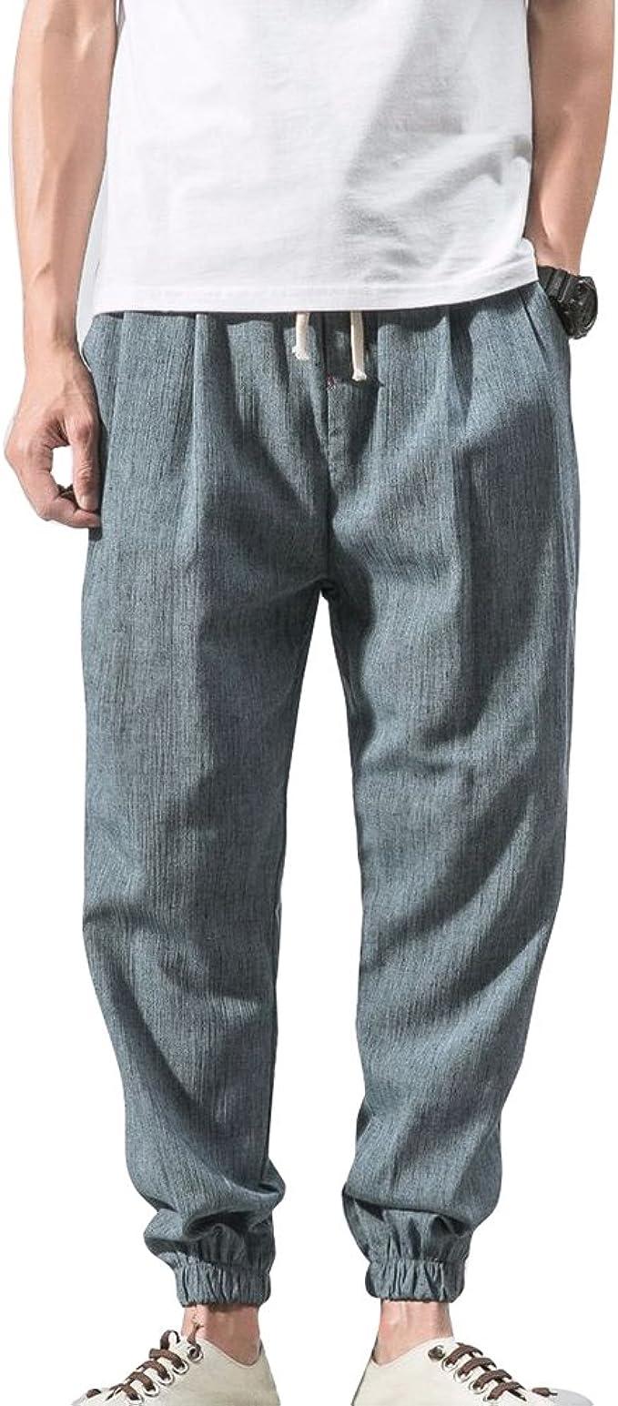 JiXuan Algodón Lino Pantalones Harem Casual Hombres Jogger ...