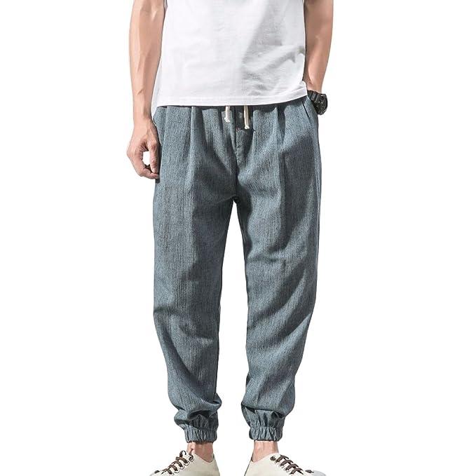 Pantalones Hombre Verano Pantalones de Lino Sueltos Pantalón de Playa con Bolsillos Laterales Pantalones Hombres 3/4 Longitud Pantalone Casuales ...