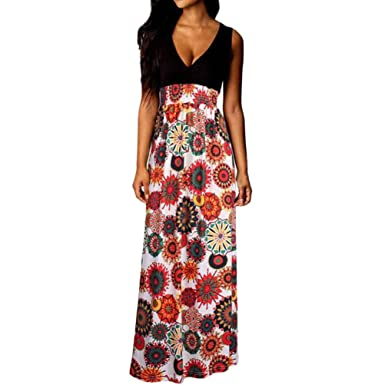 4467a53721c Momola 2018 New Women Maxi Dresses Boho Style Summer Beach Long Cocktail  Party Floral Dress  Amazon.co.uk  Clothing