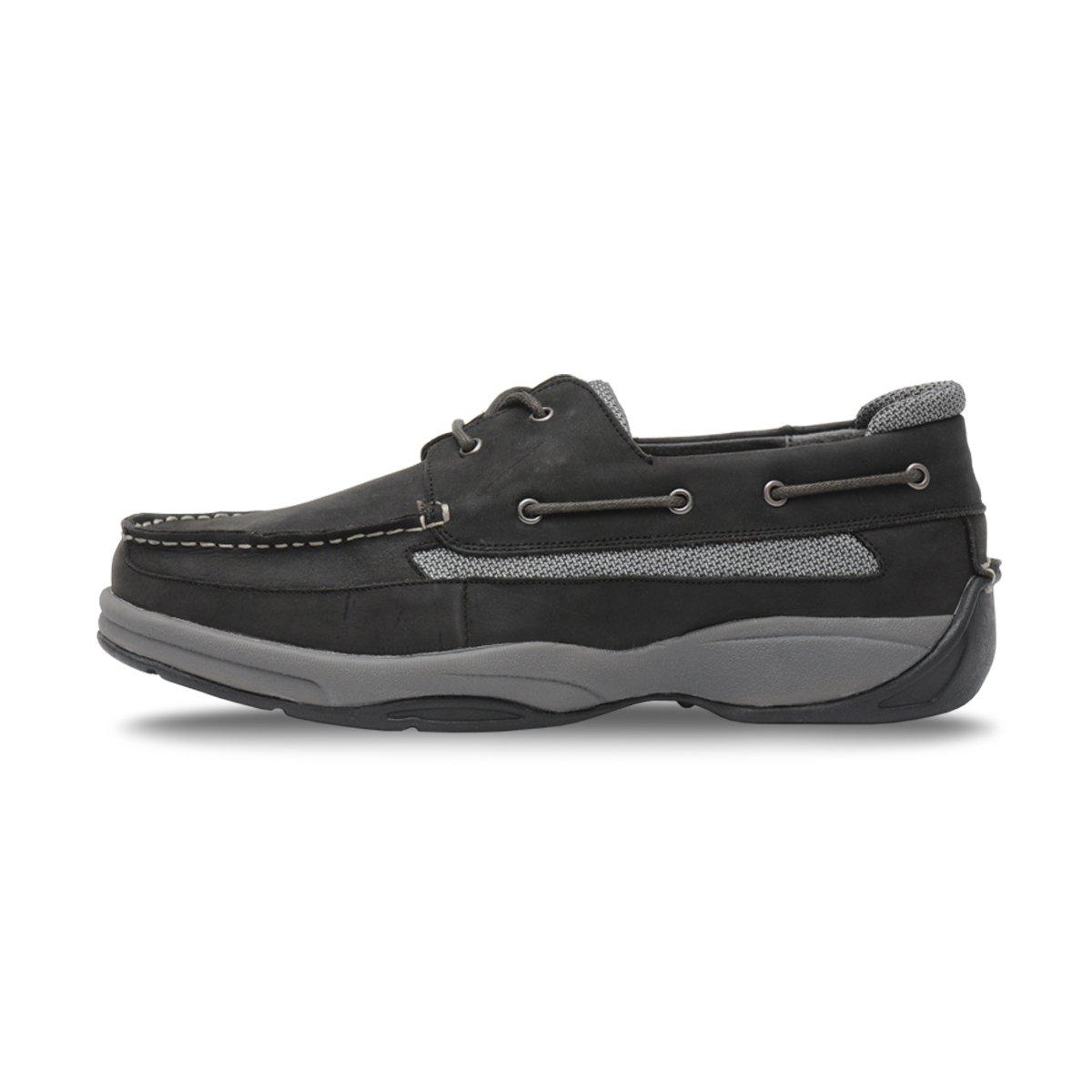 Ped-Lite Men's Neuropathy Boat Shoe - Oliver 14 D(M) US|Black