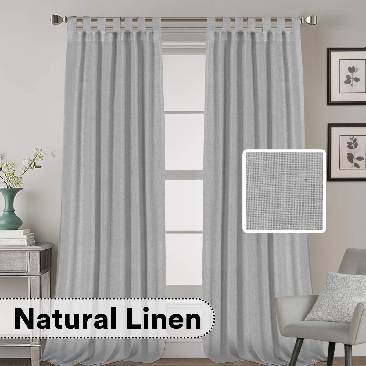 H.VERSAILTEX 2 Pack Ultra Luxurious High Woven Linen Elegant Curtain Panels Light Reducing Privacy Panels Drapes, Tab Top Curtain Set, Extra Long 52×108-Inch, Dove