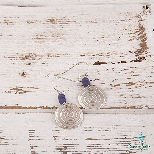 Sterling Silver Dangle Earrings with Spiral Motif and Tanzanites or (Motif Dangle)
