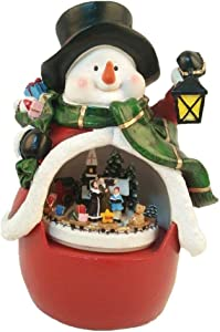 Lightahead Musical Snowman with Moving Train, LED Light Playing 8 melodies Table Top Centerpiece