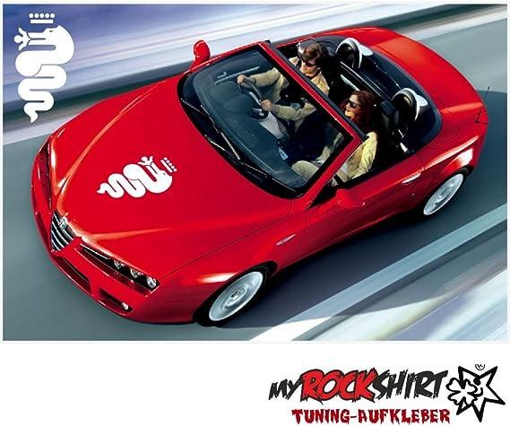 Myrockshirt Alfa Romeoaufkleber Logo 50cm Aufkleber Tuning Scheibe Lack Typ Mrs34 Bonus Testaufkleber Estrellina Glückstern Montageanleitung Waschanlagenfest Profi Qualität Auto
