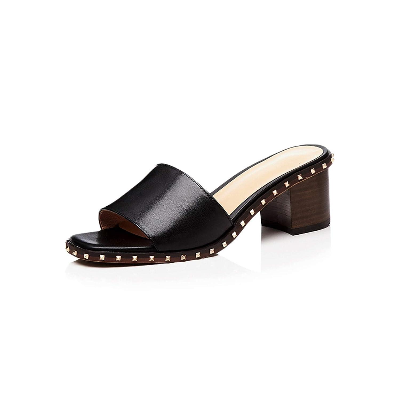 Black Wood High Heels Women Slippers Open Toe Rivet Footwear Leather Female Mules,