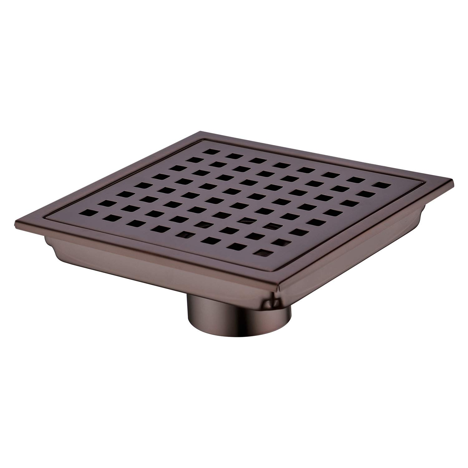 Orhemus Square Shower Floor Drain with Removable Cover Grid Grate 6 inch Long, SUS 304 Stainless Steel Brushed Bronze Finished