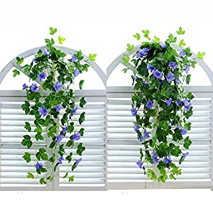 "XHSP 2 Bunches Artificial Vines 35.4"" Morning Glory Hanging Plants Silk Garland Fake Green Plant Home Garden Wall Fence Stairway Outdoor Wedding Hanging Baskets Decor 2"