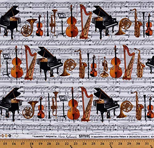 Cotton Musical Instruments Sheet Music Notes Grand Pianos Cellos Violins Trumpets Harps French Horns Clarinets Saxophones Orchestra Musicians Concerto White Cotton Fabric Print by The Yard - Trumpet Grand