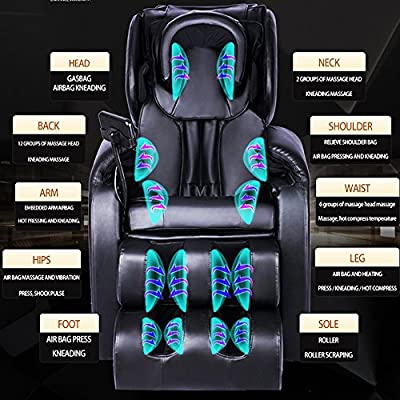 FocRelaxer Electric Zero Gravity Full Body Shiatsu Best Massage Chair Chairs Recliner With 3 Foot Roller / Heat / Head Massager
