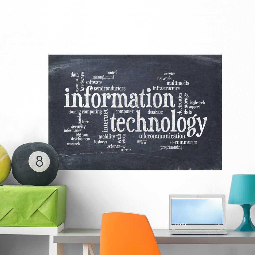 Wallmonkeys Information Technology Word Cloud Wall Mural Peel and Stick Graphic (36 in W x 24 in H) WM169833