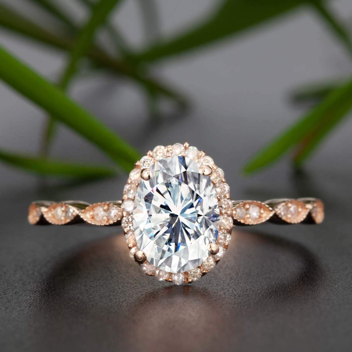 Amazon Com 1 50 Carat Oval Cut Moissanite And Diamond Halo Engagement Ring In Rose Gold Handmade