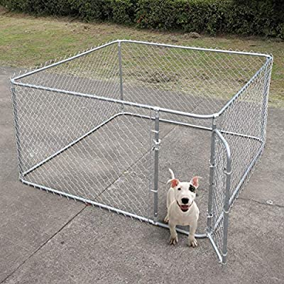 JAXPETY Foldable Metal Pet Exercise and Playpen 7.5 x 7.5 Ft Heavy Duty Outdoor Chain Link Dog Kennel Enclosure w/Door