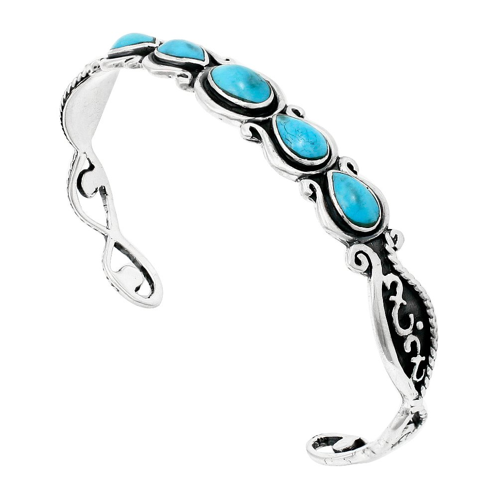Turquoise Bracelet Sterling Silver 925 Genuine Turquoise (Select Style) (Great Artisan)
