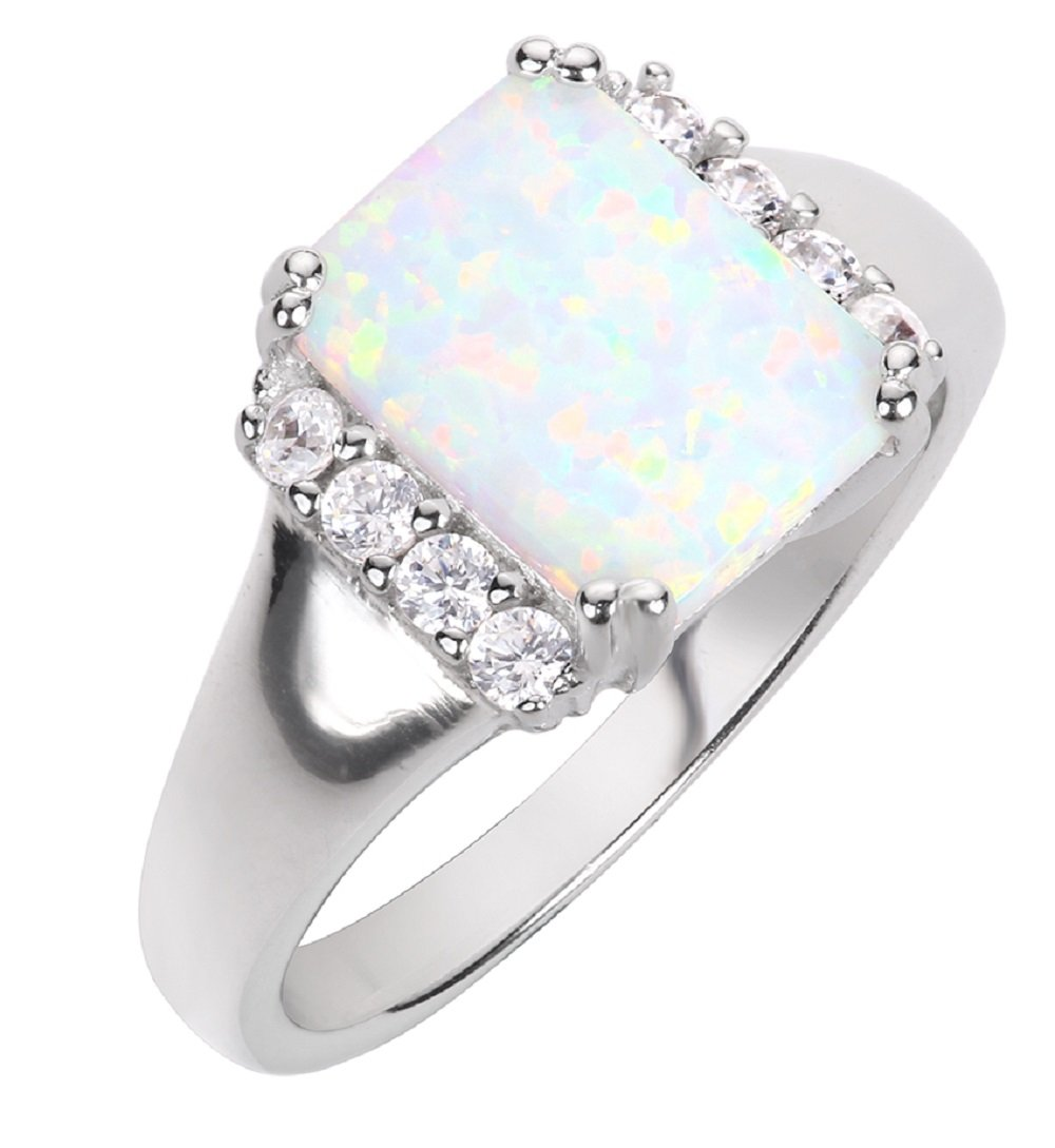 CloseoutWarehouse Rectangle White Simulated Opal and Cubic Zirconia Ring Sterling Silver Size 15