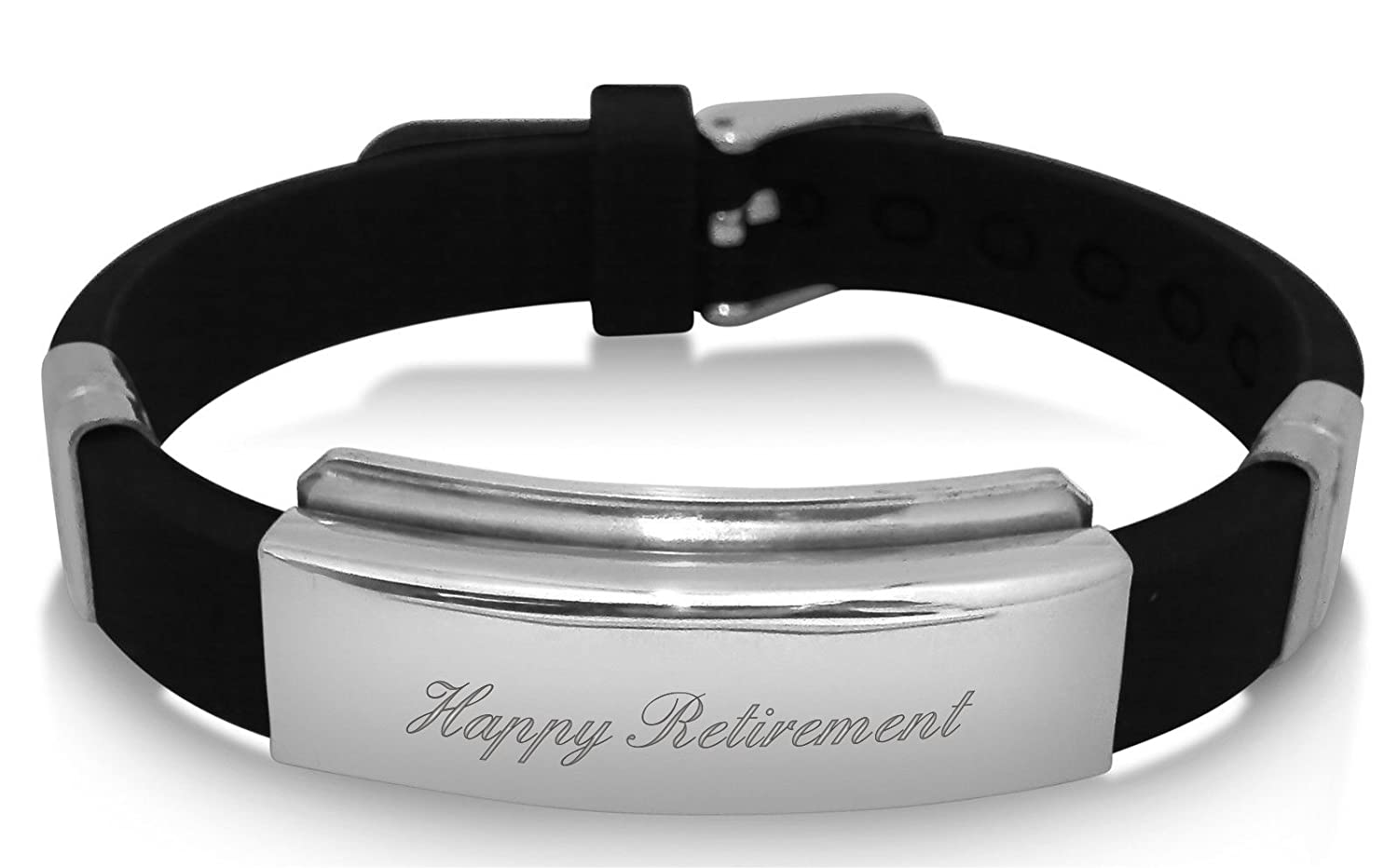Luxury Engraved Gifts UK Mens Happy Retirement Identity Id Bracelet Personalised With Up To 30 Letters Ideal Gift BR91