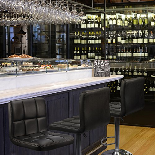 Homall bar stools swivel black bonded leather barstool for Home bar furniture abu dhabi