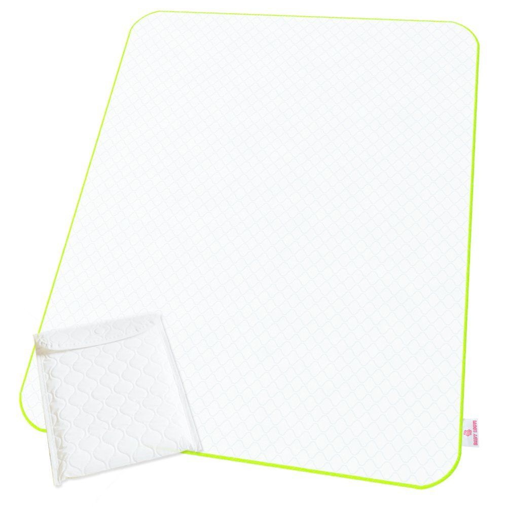 Changing Pad Portable Reinforced Seams - Reusable Changing Mat - Large Size - Diaper Change Mat White Color - Multi-Function Storage Bag