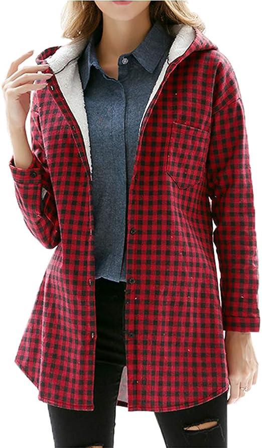 WODENINEK Primavera Camisa a Cuadros De Manga Larga para Mujer Blusa Larga con Capucha Slim Fit Más Terciopelo Moda Casual De Gran Tamaño para Mujer,XL: Amazon.es: Hogar