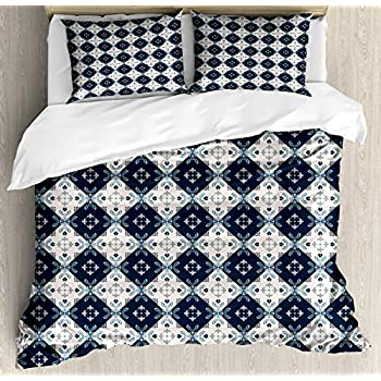 Image of Alandar Home Bedding Sets Duvet Cover 3 Pieces, Mosaic Ultra Soft Bed Quilt Set with 2 Pillowcases for Kids/Teens/Women/Men Bedroom Portuguese Pattern Middle Eastern Effects