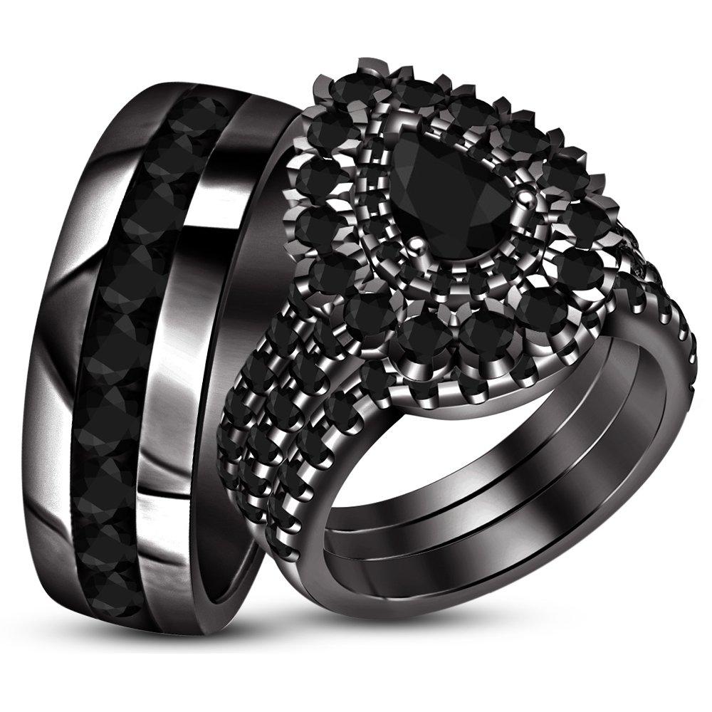 TVS-JEWELS Round Sim Diamond Men's/Women's Engagement Ring Trio Set