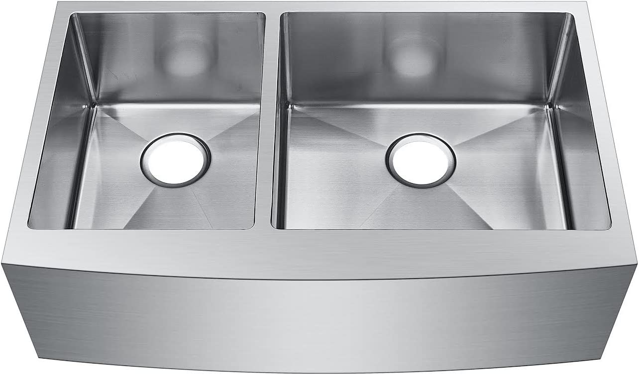 Starstar 33 X 20.75 Inch Undermount Farmhouse Apron 40 60 Double Bowl 16 Gauge Stainless Steel Kitchen Sink