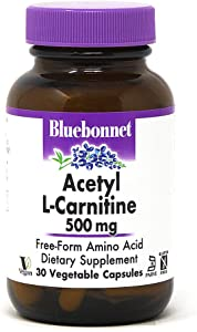 Bluebonnet Acetyl L-Carnitine 500 mg Vitamin Capsules, 30 Count