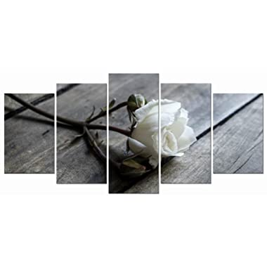 Wieco Art White Rose Canvas Prints Wall Art Flowers Pictures Paintings Ready to Hang for Living Room Bedroom Bathroom Home Decorations Modern 5 Piece Stretched and Framed Floral Giclee Artwork
