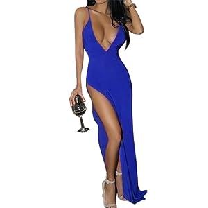 YesFashion Femme Robe longue Robe bretelle Sexy Robe Fendue Col V Cache coeur Slim robe maxi