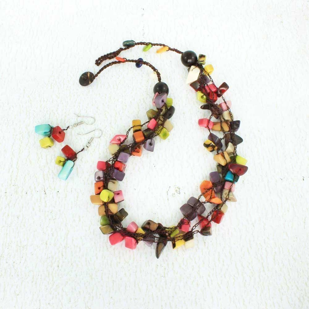 Colorful Chunky Beaded Necklace Set made of Tagua, Eco Friendly and Fair Trade Jewelry for Women